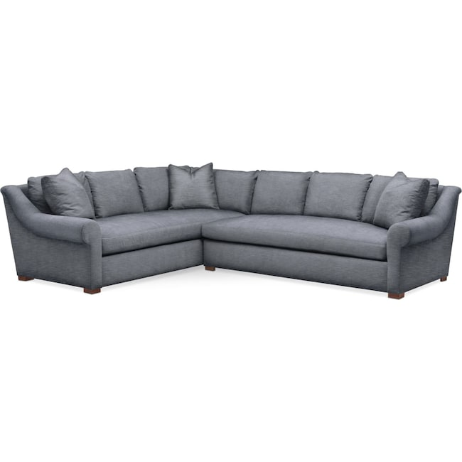 Living Room Furniture - Asher 2 Pc. Sectional with Right Arm Facing Sofa- Cumulus in Dudley Indigo
