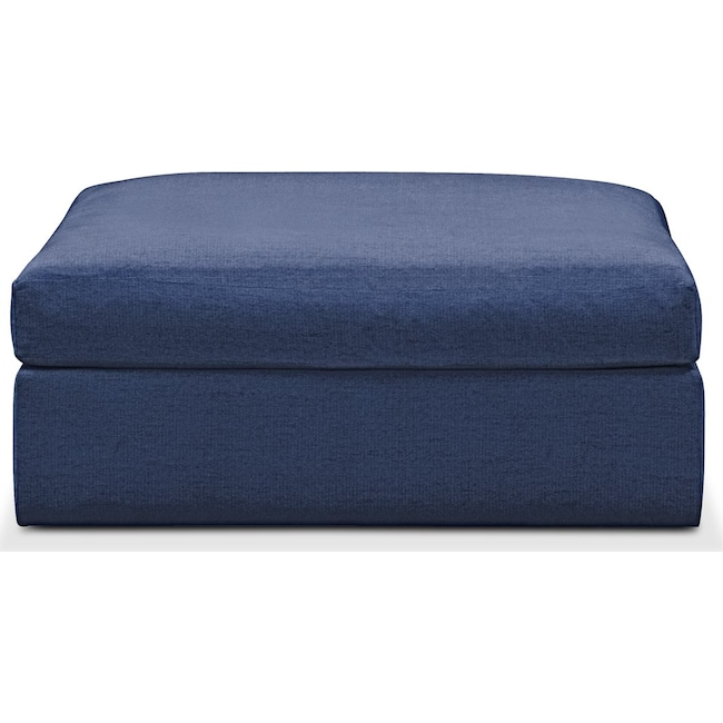 Living Room Furniture - Collin Ottoman- Cumulus in Abington TW Indigo