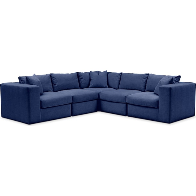 Living Room Furniture - Collin 5 Pc. Sectional - Cumulus in Abington TW Indigo