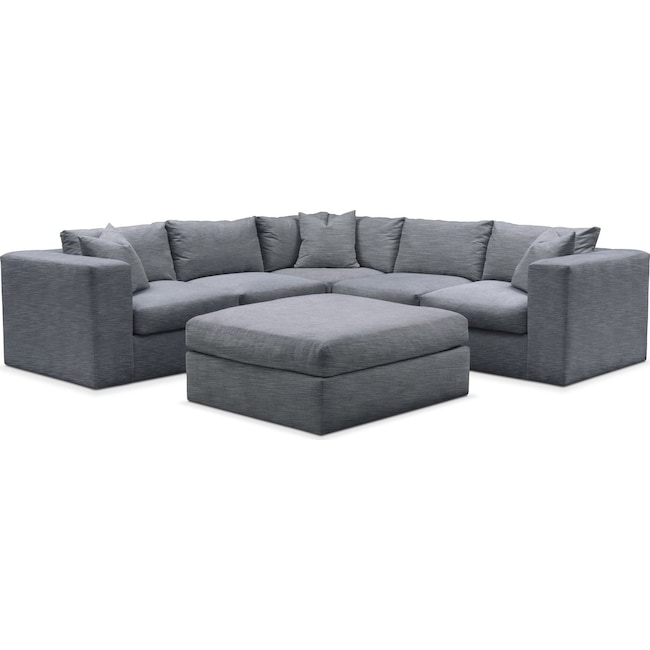 Living Room Furniture - Collin 6-Piece Sectional - Cumulus in Dudley Indigo