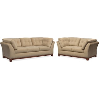 Sebring Sofa and Loveseat Set - Cocoa