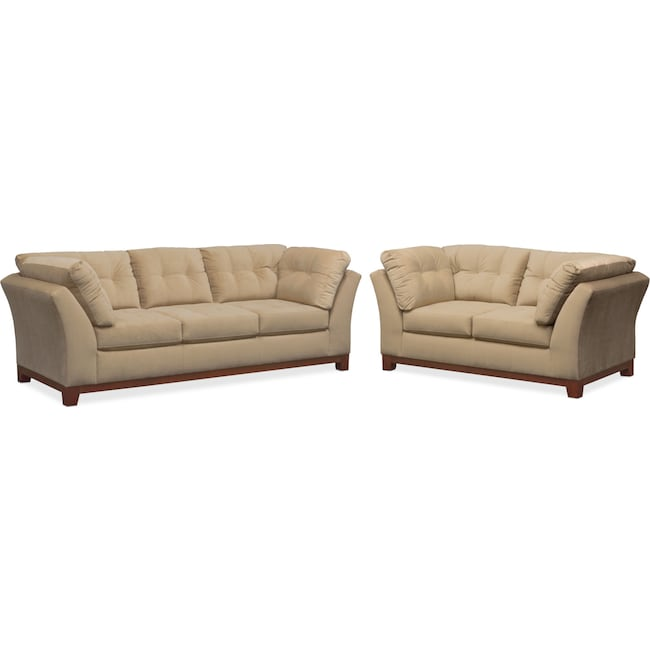Living Room Furniture - Sebring Sofa and Loveseat Set - Cocoa