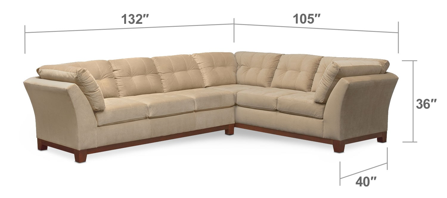 Sebring 2 Piece Sectional With Left Facing Sofa Cocoa Value City Furniture And Mattresses