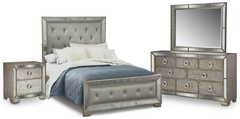 Angelina 6 Piece Queen Upholstered Bedroom Set   Metallic ...