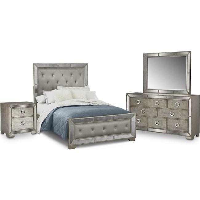 Bedroom Furniture - Angelina 6-Piece King Bedroom Set - Metallic