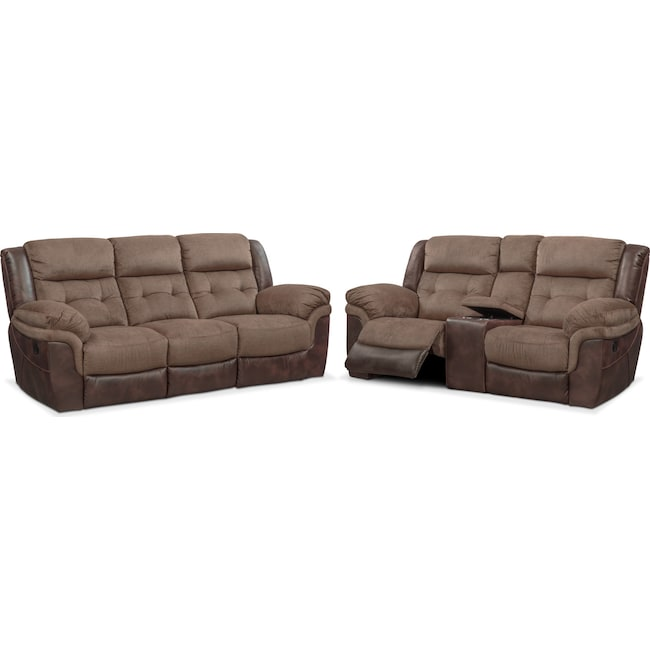 Living Room Furniture - Tacoma Manual Reclining Sofa and Loveseat Set