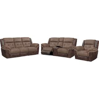 Tacoma Manual Reclining Sofa, Loveseat and Glider Recliner Set - Brown