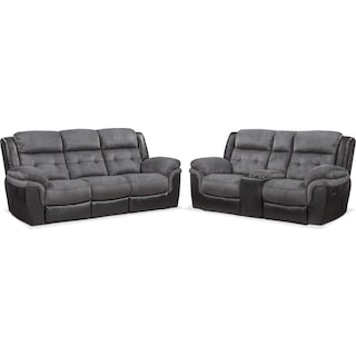 Tacoma Manual Reclining Sofa And Loveseat Set Black