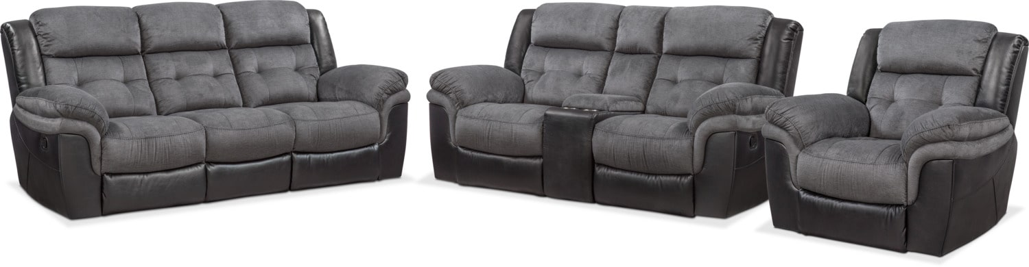 Tacoma Manual Reclining Sofa Loveseat And Glider Recliner Set