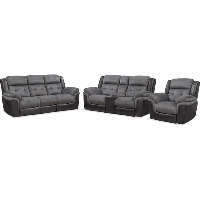 Living Room Furniture - Tacoma Manual Reclining Sofa, Loveseat and Glider Recliner