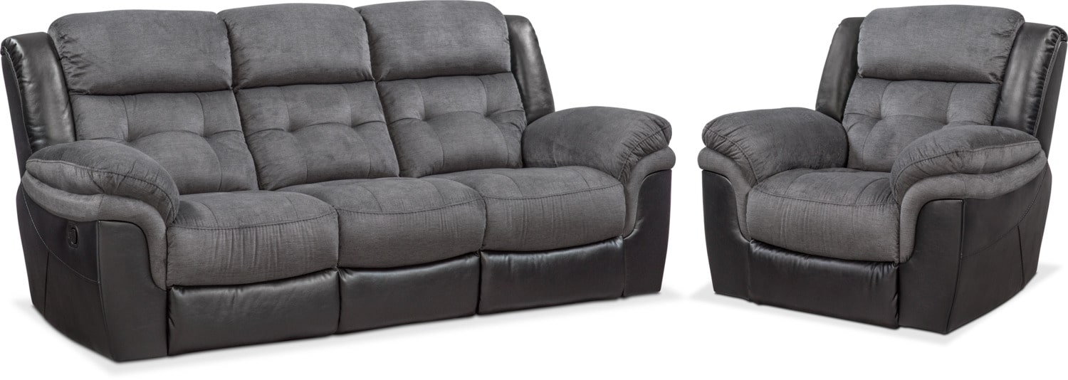Living Room Furniture   Tacoma Manual Reclining Sofa And Glider Recliner  Set   Black