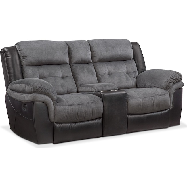 Living Room Furniture - Tacoma Manual Reclining Loveseat with Console