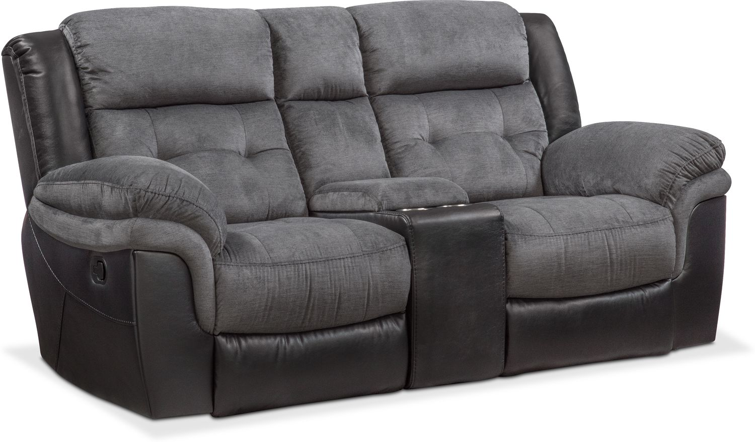 Black Leather Recliner Loveseat Top Large Levelland Power