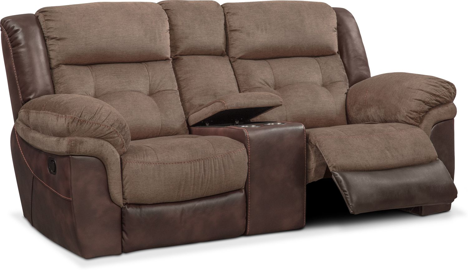 Tacoma Manual Reclining Loveseat With Console Brown