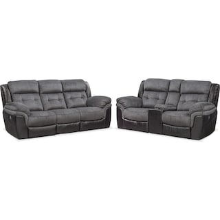 Tacoma Dual Power Reclining Sofa and Loveseat Set - Black