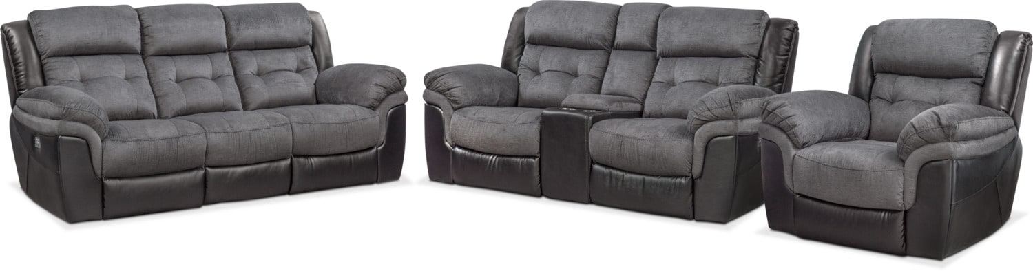 Living Room Furniture - Tacoma Dual Power Reclining Sofa, Loveseat and Recliner Set