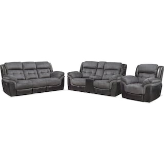 Tacoma Dual Power Reclining Sofa, Loveseat and Recliner Set - Black