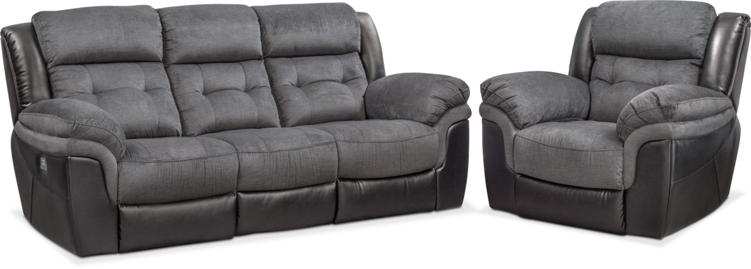 Living Room Furniture - Tacoma Dual Power Reclining Sofa and Recliner Set