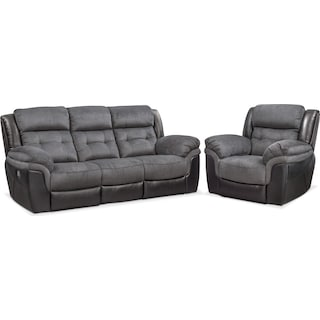 Tacoma Dual Power Reclining Sofa and Recliner Set - Black