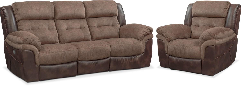 Living Room Furniture - Tacoma Dual-Power Reclining Sofa and Recliner Set