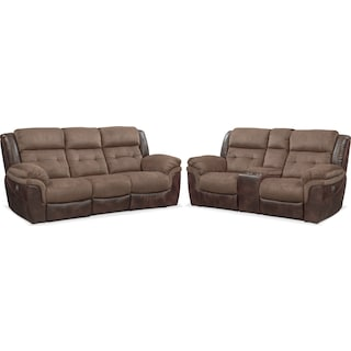 Tacoma Dual Power Reclining Sofa and Loveseat Set - Brown
