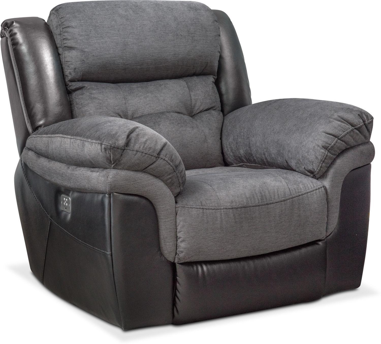 Tacoma Dual Power Recliner Black Value City Furniture