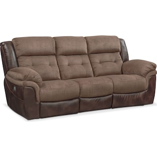 Tacoma Dual Power Reclining Sofa - Brown