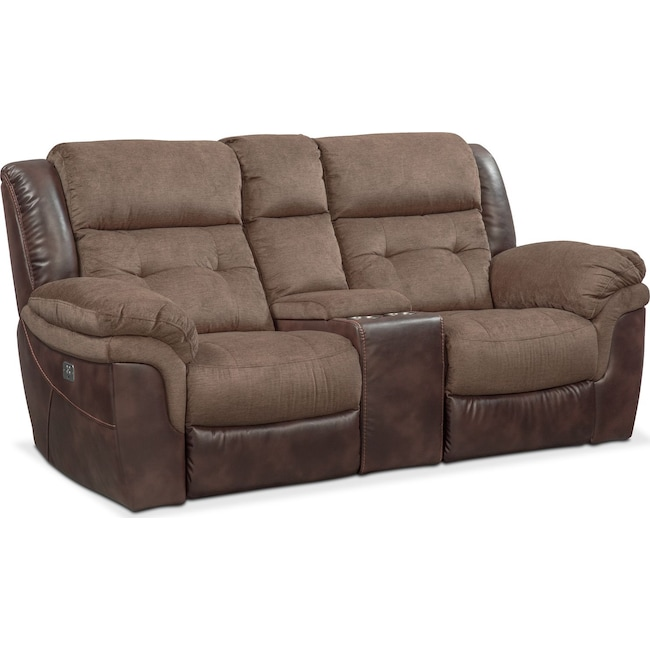 Living Room Furniture - Tacoma Dual Power Reclining Loveseat with Console - Brown