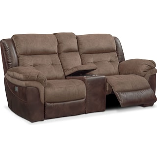 Tacoma Dual-Power Reclining Loveseat - Brown