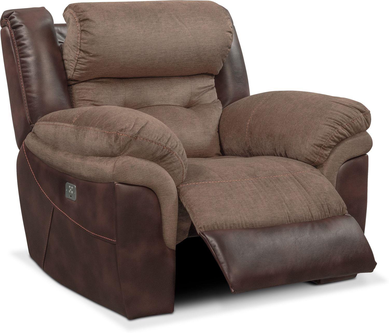 Tacoma Dual Power Recliner Brown Value City Furniture And  ~ Individual Recliner Sofa