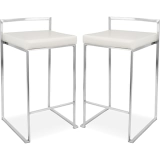 Doric Set of 2 Counter-Height Stools - Cream