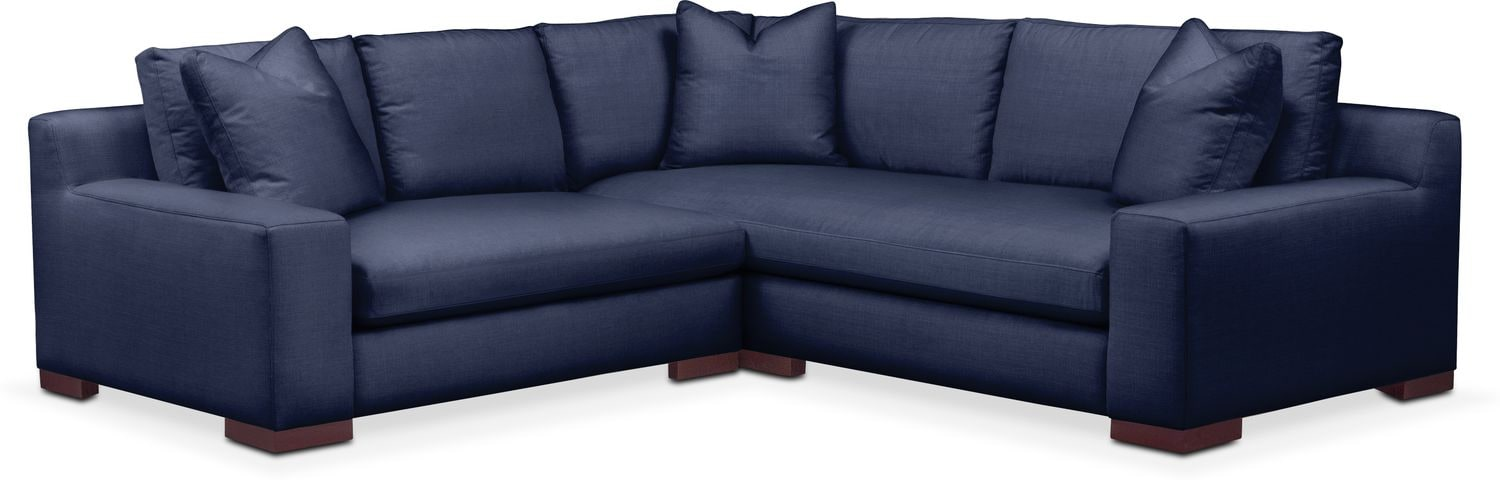 Living Room Furniture - Ethan Cumulus 2-Piece Small Sectional with Left-Facing Loveseat - Oakley III Ink