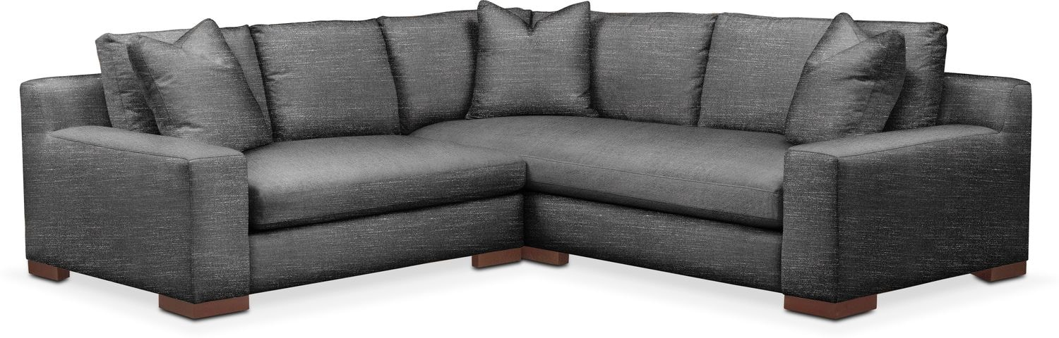 Living Room Furniture - Ethan Comfort 2-Piece Small Sectional with Left-Facing Loveseat - Curious Charcoal