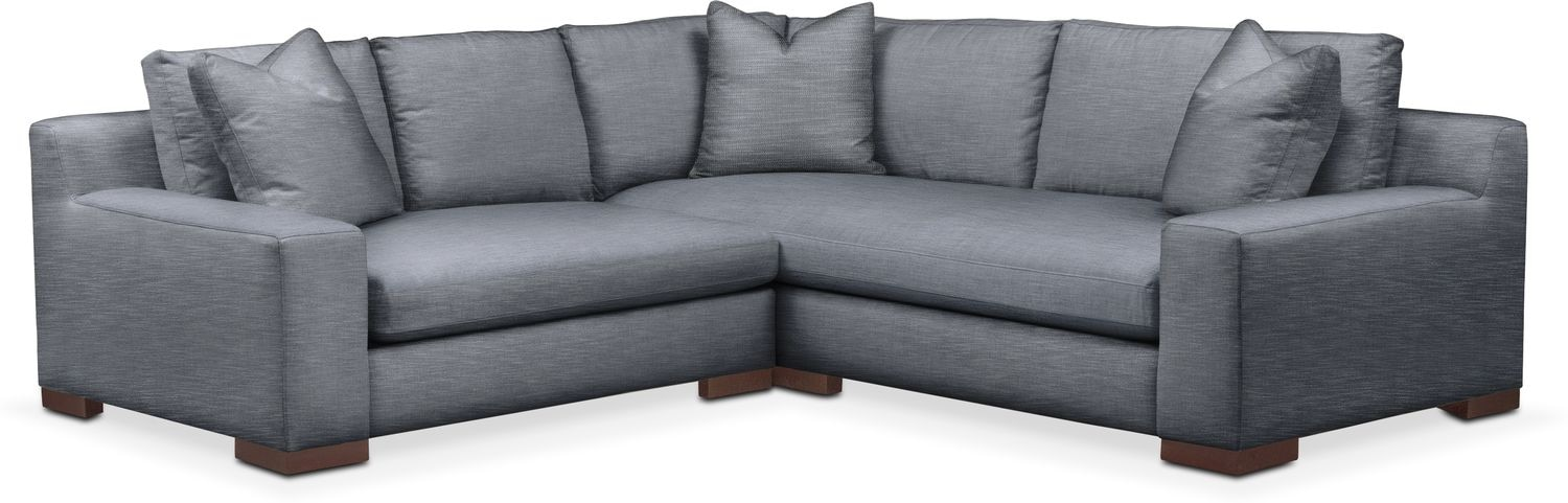 Living Room Furniture - Ethan Cumulus 2-Piece Small Sectional with Left-Facing Loveseat - Dudley Indigo