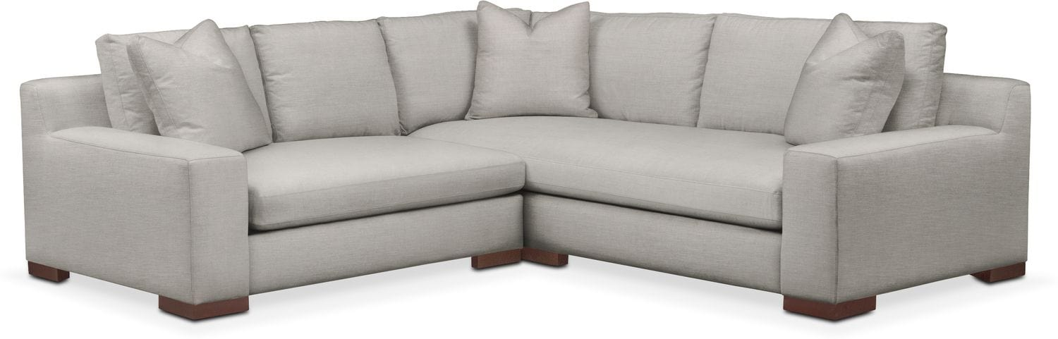 Living Room Furniture - Ethan Comfort 2-Piece Small Sectional with Left-Facing Loveseat - Dudley Gray