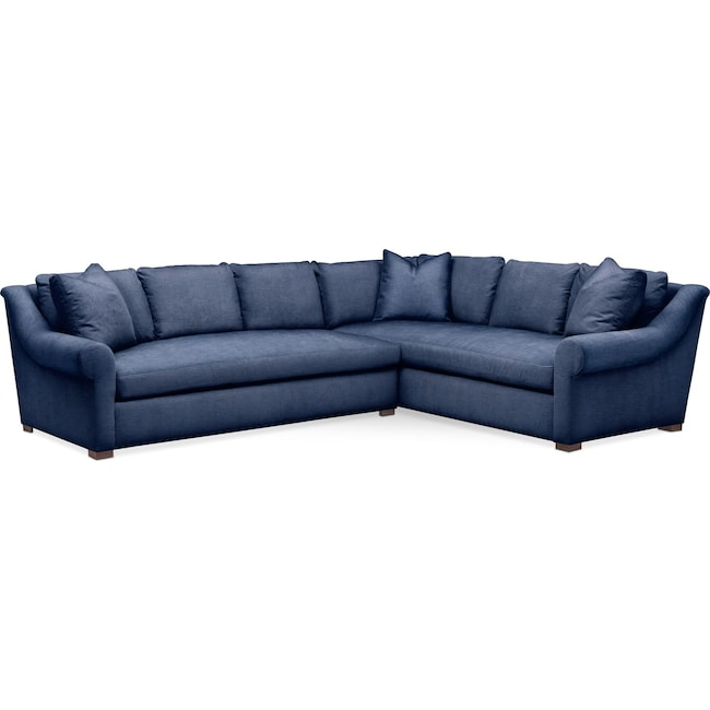 Living Room Furniture - Asher 2 Pc. Sectional with Left Arm Facing Sofa- Comfort in Abington TW Indigo