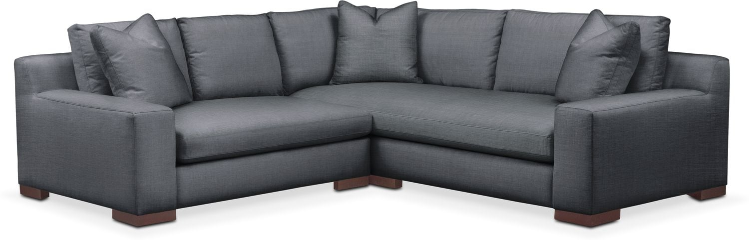 Living Room Furniture - Ethan Comfort 2-Piece Small Sectional with Left-Facing Loveseat - Millford II Charcoal