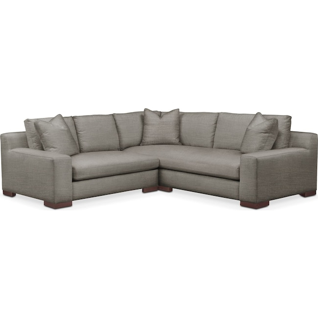 Living Room Furniture - Ethan Comfort 2-Piece Small Sectional with Left-Facing Loveseat - Victory Smoke