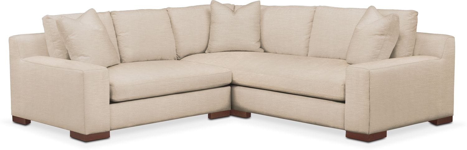 Living Room Furniture - Ethan Comfort 2-Piece Small Sectional with Left-Facing Loveseat - Dudley Buff