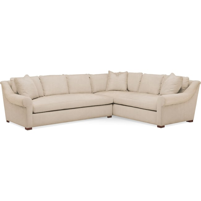 Living Room Furniture - Asher 2 Pc. Sectional with Left Arm Facing Sofa- Comfort in Dudley Buff