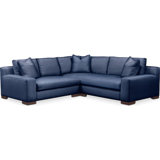 Living Room Furniture - Ethan Comfort 2-Piece Small Sectional with Left-Facing Loveseat - Abington TW Indigo