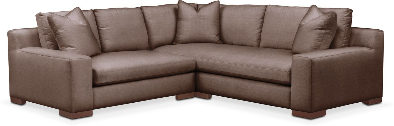 Living Room Furniture - Ethan Cumulus 2-Piece Small Sectional with Left-Facing Loveseat - Oakley III Java