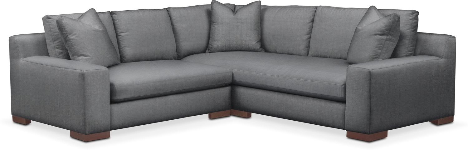 Living Room Furniture - Ethan Comfort 2-Piece Small Sectional with Left-Facing Loveseat - Depalma Charcoal