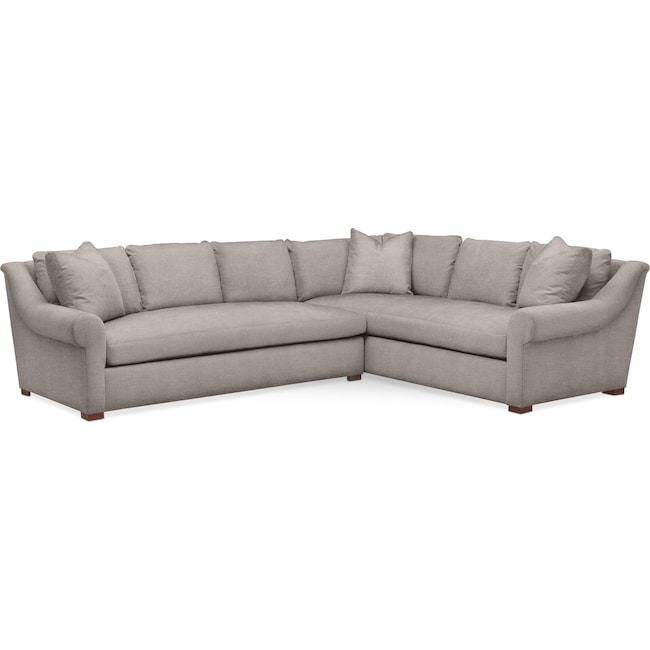 Living Room Furniture - Asher 2 Pc. Sectional with Left Arm Facing Sofa- Comfort in Curious Silver Rine