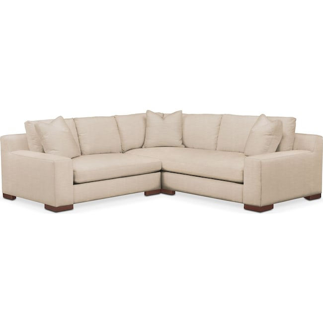 Living Room Furniture - Ethan Cumulus 2-Piece Small Sectional with Left-Facing Loveseat - Dudley Buff