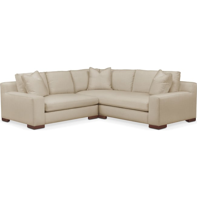 Living Room Furniture - Ethan Comfort 2-Piece Small Sectional with Left-Facing Loveseat - Depalma Taupe