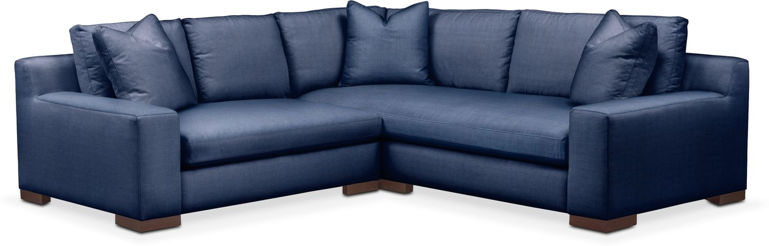 Living Room Furniture - Ethan Cumulus 2-Piece Small Sectional with Left-Facing Loveseat - Abington TW Indigo