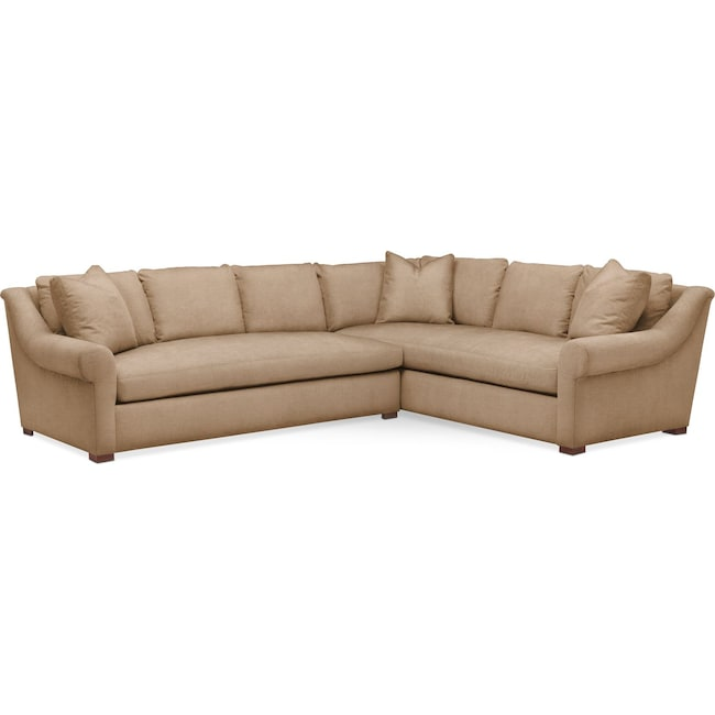Living Room Furniture - Asher 2 Pc. Sectional with Left Arm Facing Sofa- Comfort in Hugo Camel