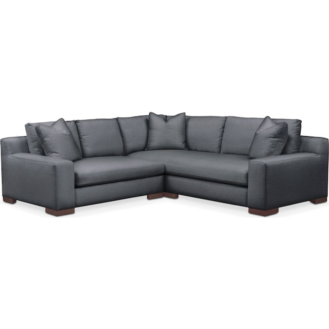 Living Room Furniture - Ethan Cumulus 2-Piece Small Sectional with Left-Facing Loveseat - Millford II Charcoal