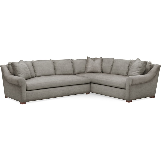 Living Room Furniture - Asher 2 Pc. Sectional with Left Arm Facing Sofa- Comfort in Victory Smoke